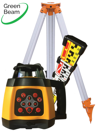 RL250SG Green Beam Rotating Laser Level c/w Staff and Tripod 519937
