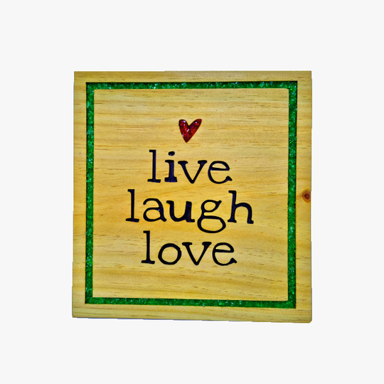Pine 'Live Laugh Love' sign