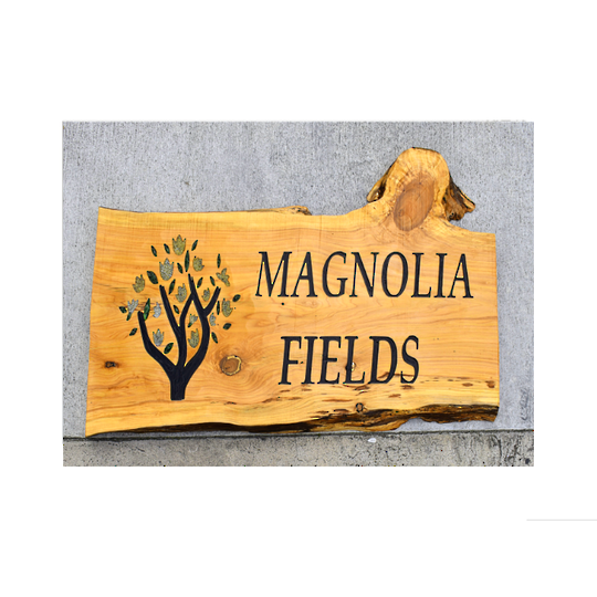 Macrocarpa Magnolia Fields Custom Sign
