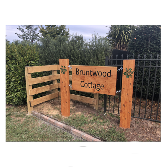 Macrocarpa Bruntwood Cottage Custom Sign