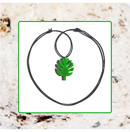 Macrocarpa Palm Leaf Pendant and Cord