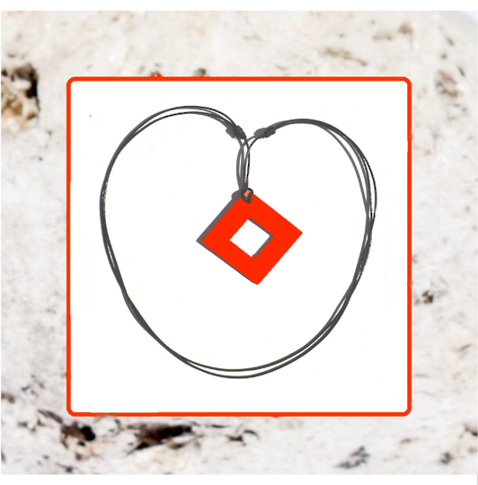 Macrocarpa Orange Square Cut Pendant and Cord