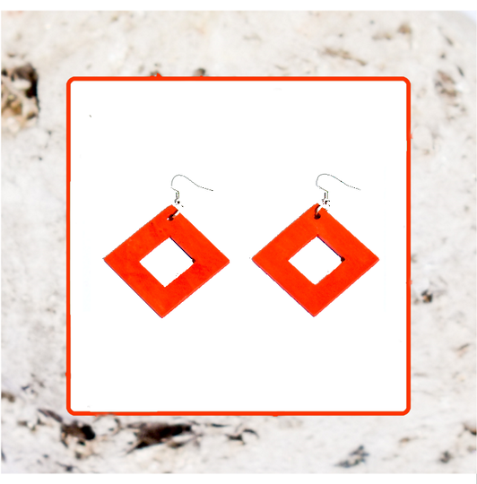 Macrocarpa Orange Square Cut Earrings