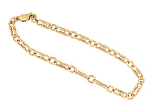 9ct yellow gold paper clip link style bracelet