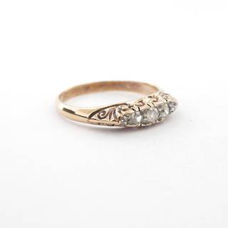 18ct yellow gold antique diamond set ring