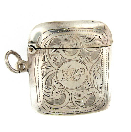 Sterling silver patterned vesta box
