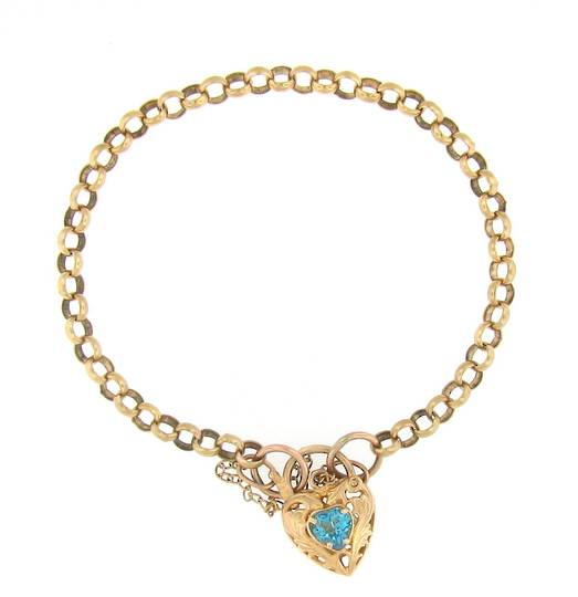 9ct yellow gold bracelet with a topaz set locket