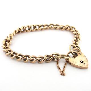 9ct rose gold curb link heart padlock bracelet