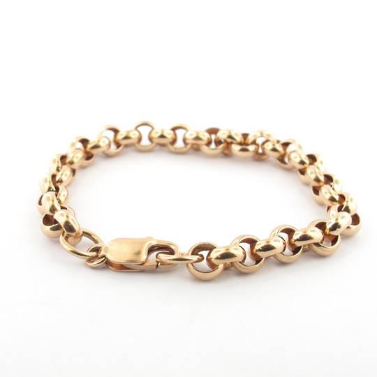 9ct rose gold round belcher link bracelet