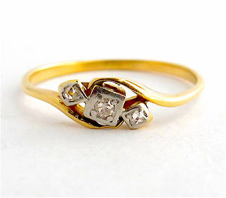 18ct yellow gold & platinum antique rose cut diamond dress ring