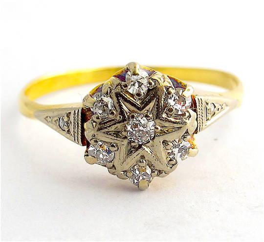 18ct yellow gold & platinum antique old cut diamond cluster ring
