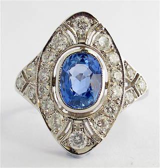 18ct white gold Art Deco style ceylon sapphire and diamond ring
