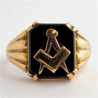 Men's 9ct rose gold vintage 'Masonic' signet ring