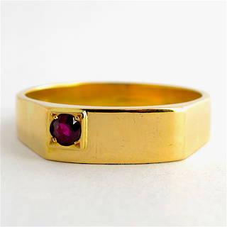 Men's 14ct yellow gold ruby set ring