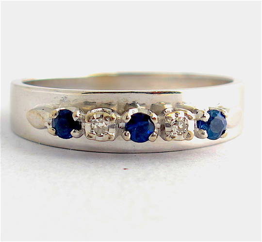 18ct white gold & palladium sapphire and diamond ring