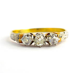 18ct yellow gold and platinum Old European cut antique diamond 3 stone ring