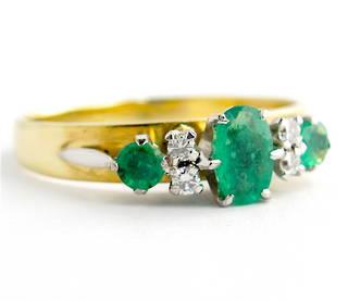 9ct yellow gold and palladium emerald and diamond ring