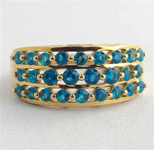9ct yellow gold 3 row blue topaz dress ring