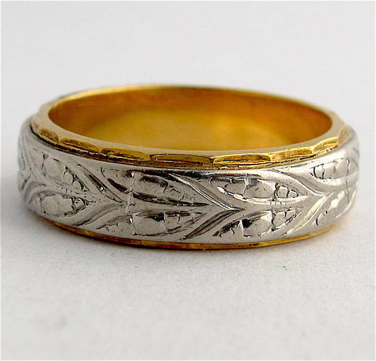 18ct yellow gold & palladium vintage band