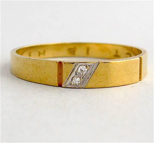 9ct yellow gold diamond set dress band