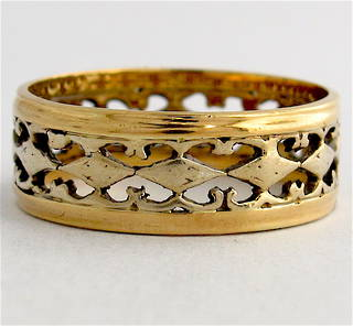 18ct bi-tonal filigree style band