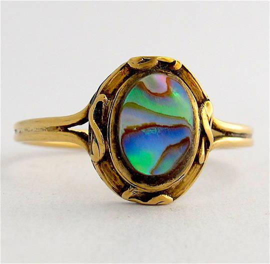 18ct yellow gold paua dress ring