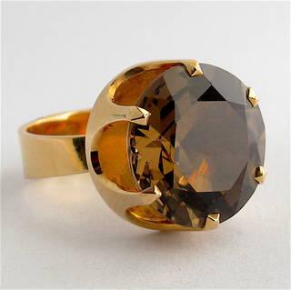 14ct yellow gold smokey quartz ring