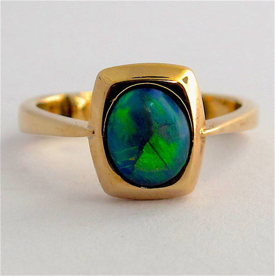 9ct yellow gold solid black opal ring