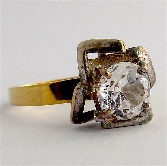 9ct yellow and sterling silver white sapphire dress ring