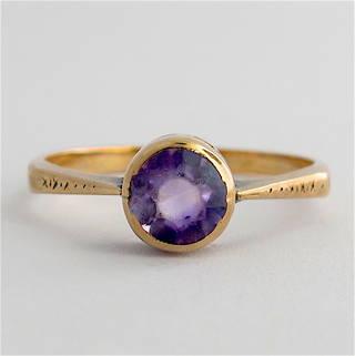 9ct rose gold vintage amethyst dress ring