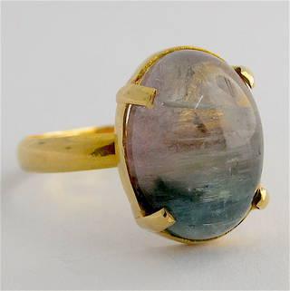 18ct yellow gold aventurine quartz ring