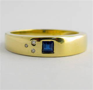 14ct yellow gold sapphire and diamond ring