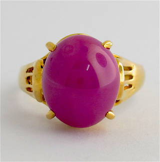 18ct yellow gold and synthetic star ruby dress ring
