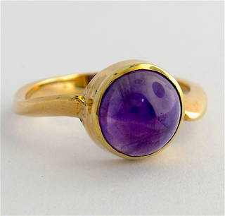 9ct yellow gold cabochon cut amethyst ring