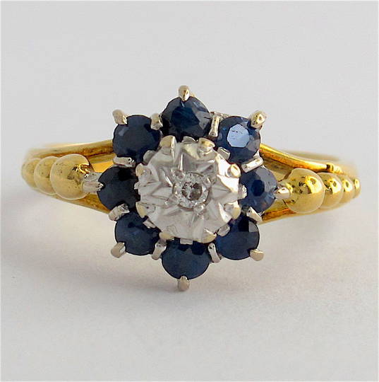 18ct yellow gold & platinum sapphire and diamond ring