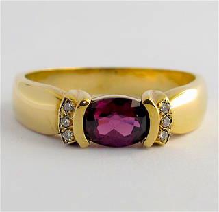 9ct yellow gold amethyst and diamond dress ring