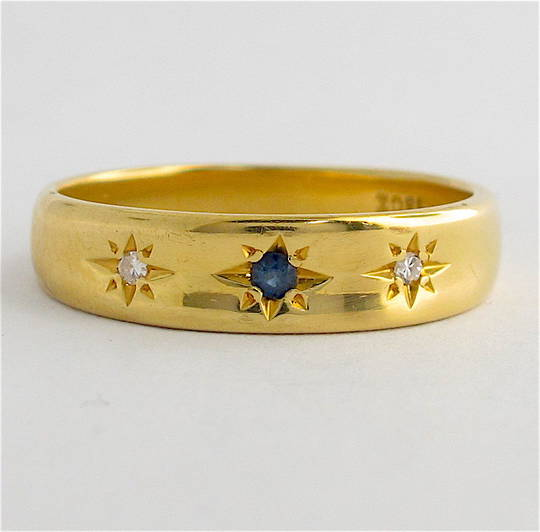 18ct yellow gold diamond and sapphire band