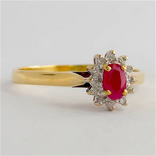 9ct yellow and white gold ruby and diamond cluster ring