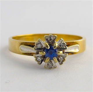 9ct yellow & white gold sapphire and diamond ring