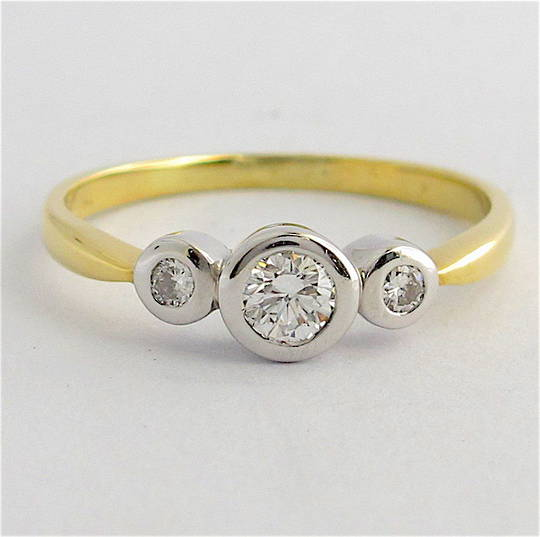 18ct yellow and white gold 3 stone diamond ring