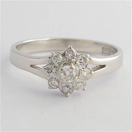 14ct white gold 'flower design' diamond ring