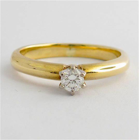 9ct yellow & white gold diamond solitaire ring