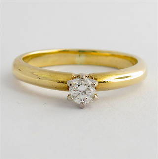 9ct yellow & white gold diamond solitaire ring