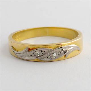 18ct yellow gold & platinum vintage diamond band