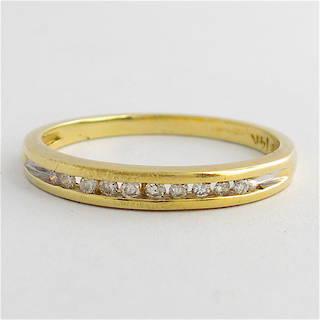 14ct yellow gold channel set diamond band