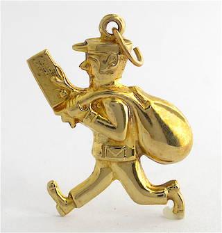 9ct yellow gold Postman charm