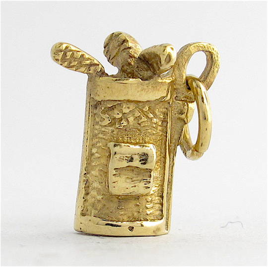 9ct yellow gold golf bag charm