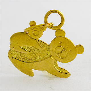 18ct yellow gold Bear and baby charm