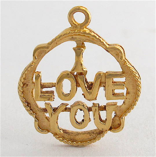 9ct yellow gold I Love You charm