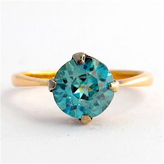 9ct rose gold blue zircon ring